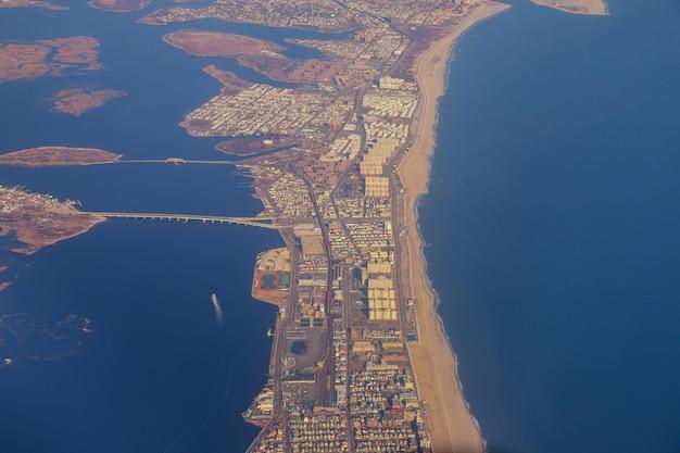 Panoramic view of airplane window, nyc, usa