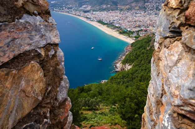 Panoramic view of alanya and alanya fortress in turkey in black and white