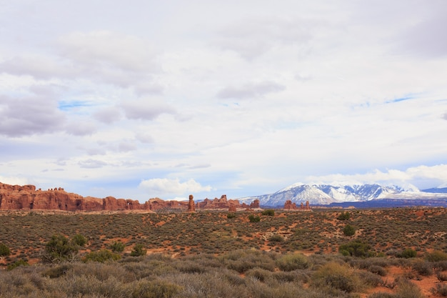 Panoramic view of arches national park. moab, utah,