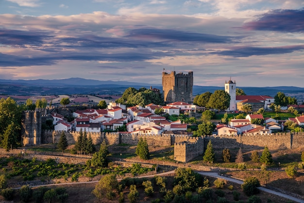 Panoramic view, astonishing sunset in the medieval citadel (cidadela) of braganãƒâ§a, trs-os-montes, portugal
