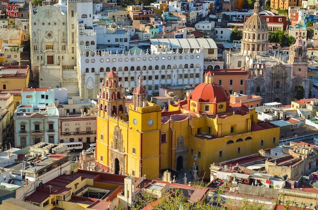 Panoramic view of basilica of our lady, beautiful yellow church of the city of guanajuato, mexico.
