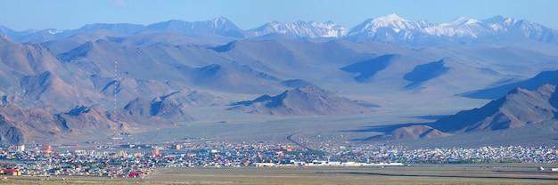 Panoramic view of bayan ulgiy, western mongolia