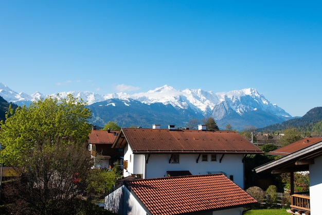 Panoramic view of beautiful landscape in the alps