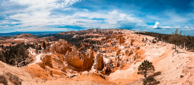 Panoramic view of the beautiful views before starting the queens garden train trekking in bryce national park, utah. united states