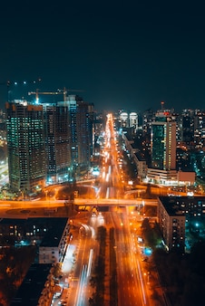 Panoramic view on big city at night