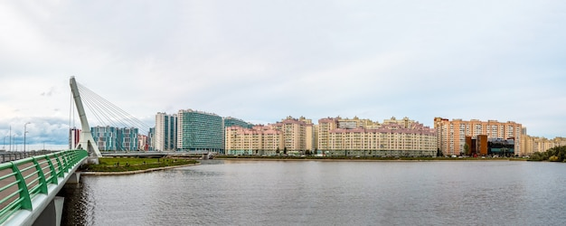 Panoramic view of bridge is named after akhmad kadyrov. new residential neighborhood on the outskirts of st. petersburg. russia.