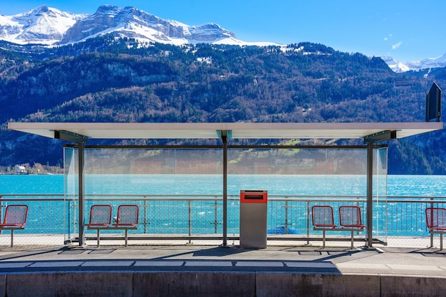 Panoramic view of brienz station, lake brienz and swiss alps during winter season