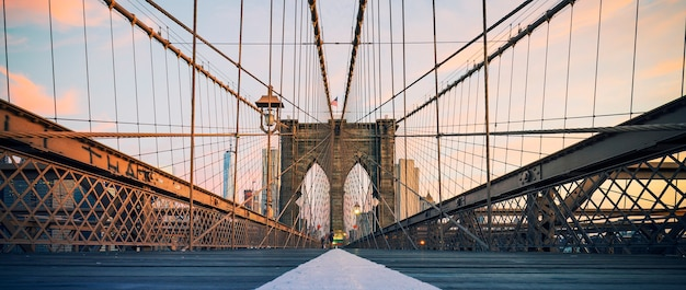 Panoramic view on brooklyn bridge, new york, usa.