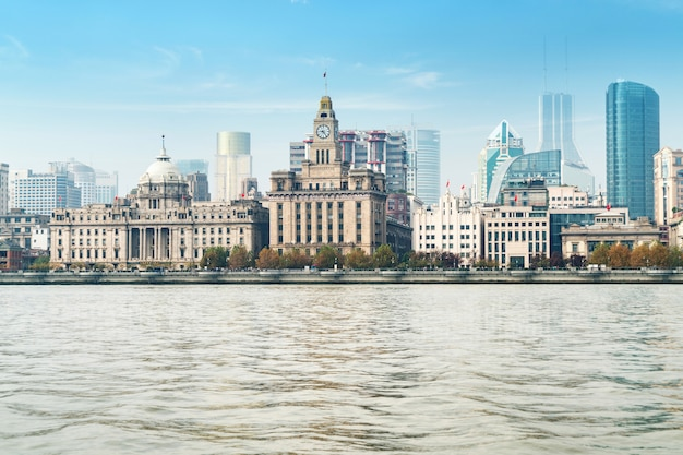 Panoramic view of the bund city in huangpu district, shanghai