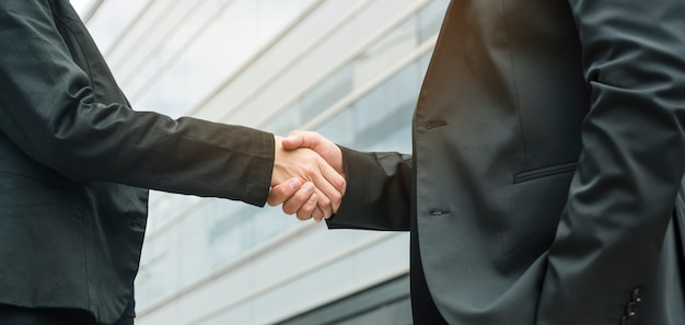 Panoramic view of businesswoman and businessman shaking hands