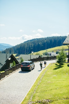 Panoramic view of carpathian mountains resort building houses hotels