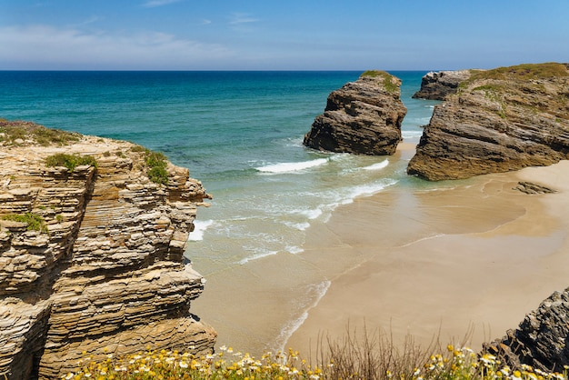 Panoramic view of cathedrals beach in galicia, spain