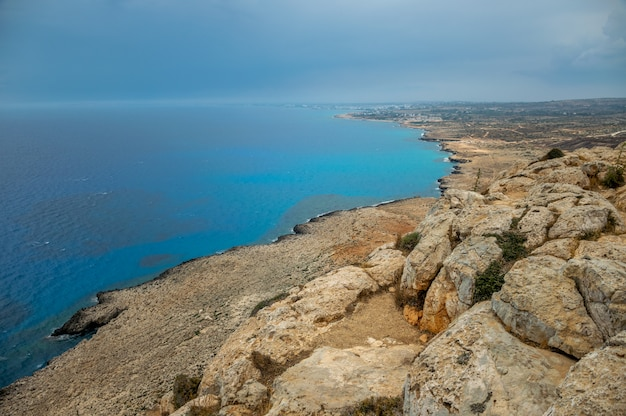Panoramic view of the city of ayia napa from the viewpoint on the top of the mountain cape cavo greco.