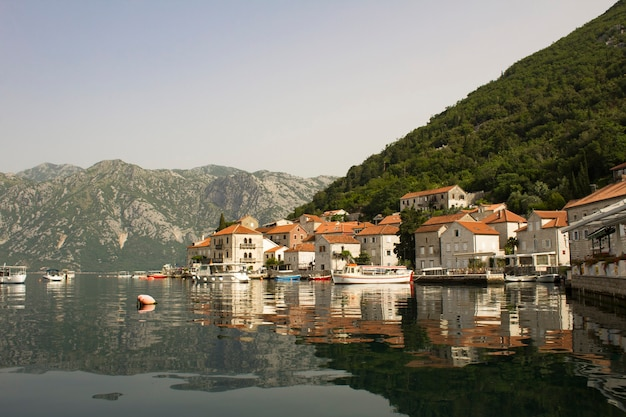 Panoramic view of the city and bay on the summer day. perast. montenegro.