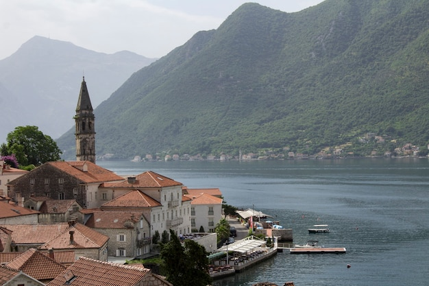 Panoramic view of the city and bay on the sunny day. perast. montenegro.