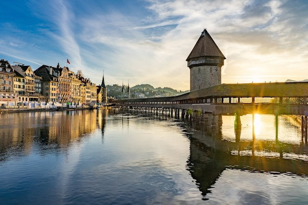 Panoramic view of city center of lucerne with famous chapel bridge and lake lucerne