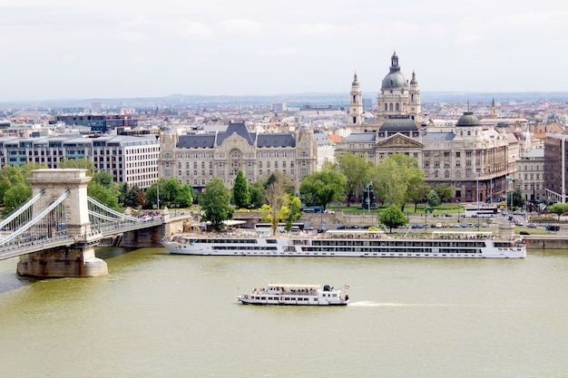 Panoramic view of the city and river.budapest. hungary.