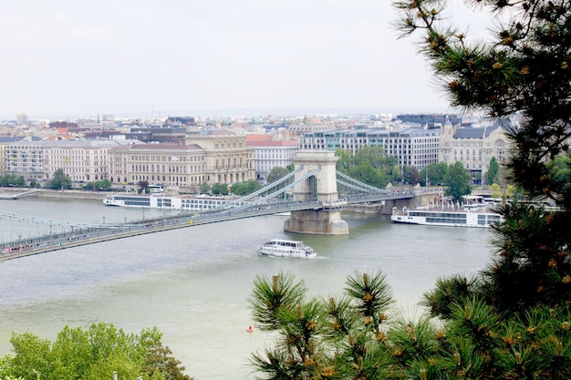 Panoramic view of the city and river in the spring day.budapest. hungary.