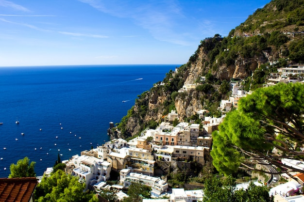 Panoramic view of the city and sea on the sunny day.positano.italy.