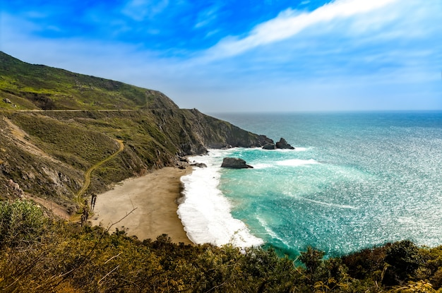 Panoramic view over the coast at big sur, california