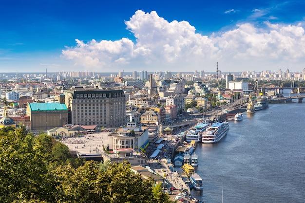 Panoramic view of district podol in kiev, ukraine