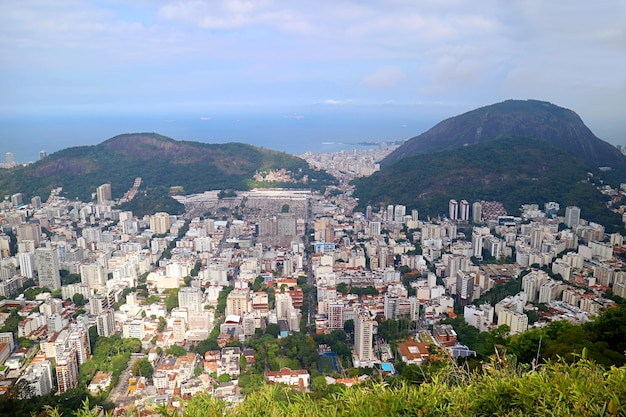 Panoramic view of downtown with the atlantic ocean view from colcovado hill, brazil