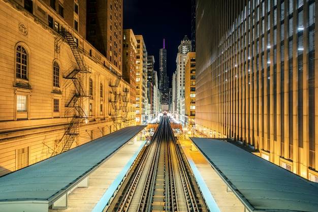 Panoramic view of elevated railway train in chicago