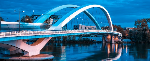 Panoramic view of famous bridge in lyon, france