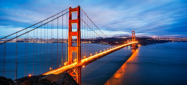Panoramic view of famous golden gate bridge in san francisco