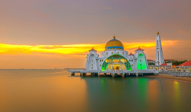 Panoramic view of floating public mosque during awesome sunset
