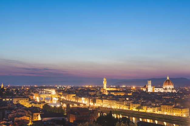 Panoramic view of florence at dusk