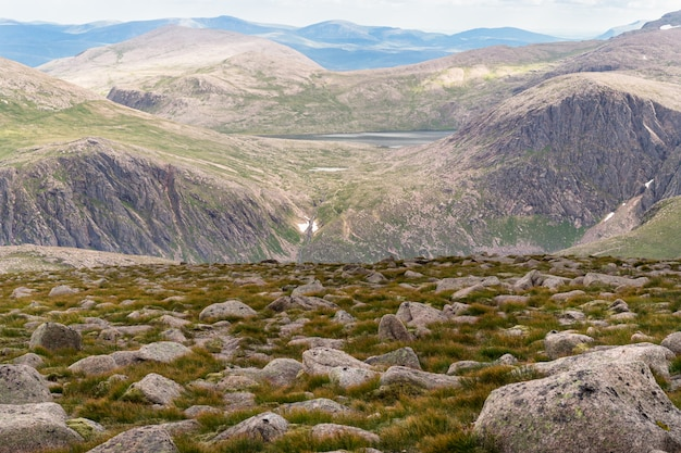 Panoramic view from cairngorm mountain in summer