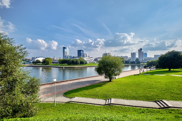Panoramic view from park of the city behind the river