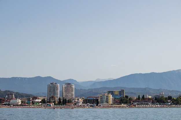 Panoramic view from the sea to the city and mountains