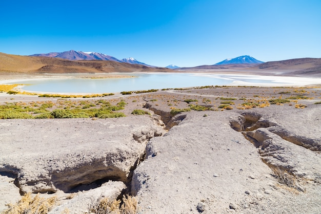 Panoramic view of  frozen salty lake on the way to the famous uyuni salt flat