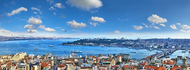 Panoramic view of golden horn from galata tower in istanbul