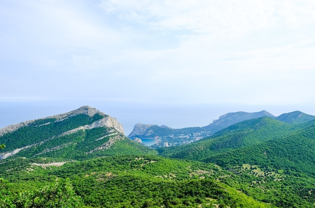 Panoramic view of the green forest in the mountains on the background of the sea