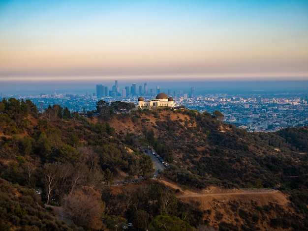 Panoramic view of griffith observatory and los angeles city.
