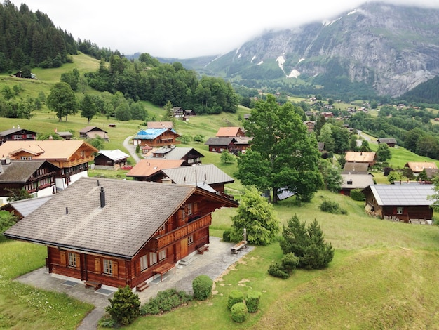 Panoramic view of grindelwald scenery landscape, switzerland