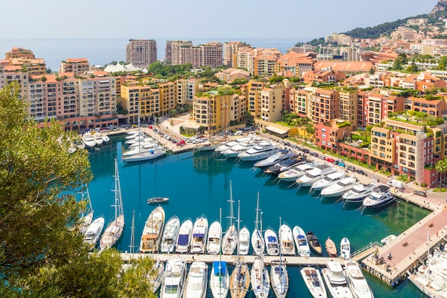 Panoramic view of harbor with boats, yachts of monaco, france