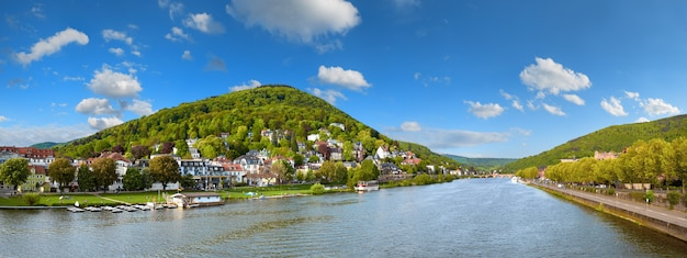 Panoramic view of heidelberg and neckar river from karl theodor bridge