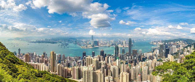 Panoramic view of hong kong business district china