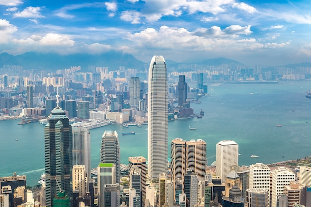 Panoramic view of hong kong business district, china