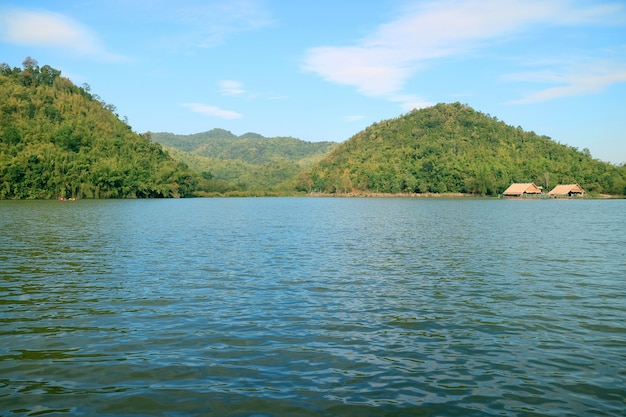 Panoramic view of hoob khao wong reservoir in thailand