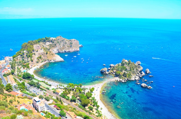 Panoramic view of isola bella island and beach. taormina, sicily, italy