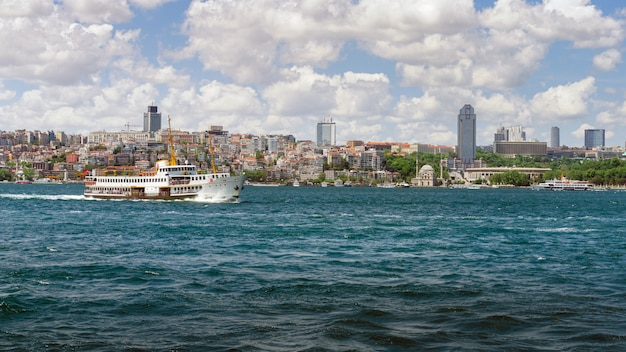 Panoramic view of istanbul from galata tower. bridges, mosques and bosphorus. istanbul, turkey.