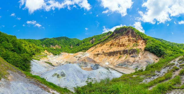 Panoramic view of jigokudani valley and blue sky in summer, noboribetsu, hokkaido, japan