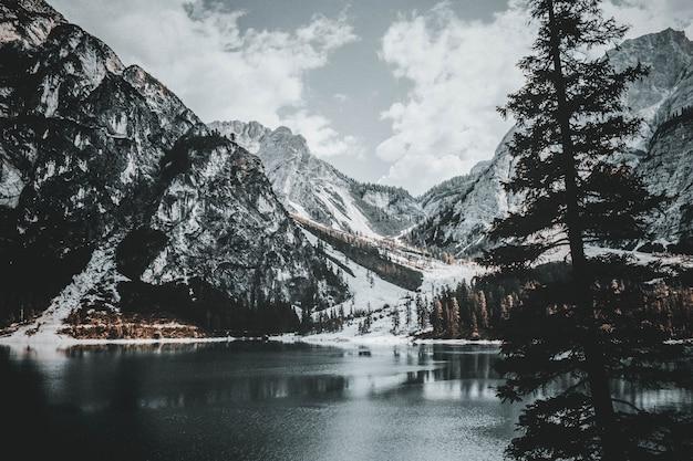 Panoramic view on lake braies, italy