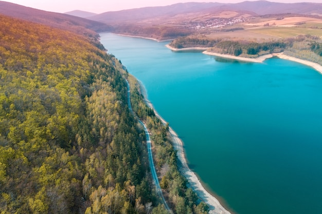 Panoramic view of lake bukovec kosice region, slovakia in early spring. view from above