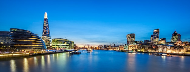 Panoramic view of london skyline from the tower bridge.